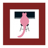 "Piano cat, Pianissimo, Cat print with mount and backing board 8"" x 8"""