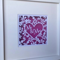 Mr & Mrs Paper Cut Ideal Wedding Gift, Colour Optional
