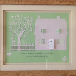 Personalised 3D home picture, ideal new home or housewarming gift. Framed
