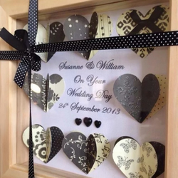 Personalised 3D Hearts Or Butterfly Box Frame. Ideal Wedding, Christening Ect.