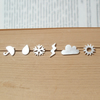 sterling silver weather forecast ear studs (set of 6 ear studs), handmade in Eng