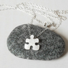 sterling silver jigsaw puzzle necklace, handmade in UK