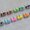 color pencil ear studs, the hexagon version in candy colors