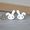 bunny rabbit earring studs with floppy ear in silver