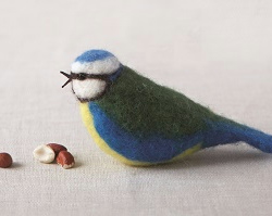 Needle Felt Blue Tit Kit - makes 2 - Great gift for bird lovers