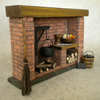 Dolls House Tudor Fireplace Red Brick ,Cooking ,Historical, Period