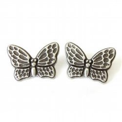 1x butterfly button, metal shank button for girls
