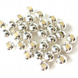 5x LARGE HOLE 6mm sterling silver beads, seamless