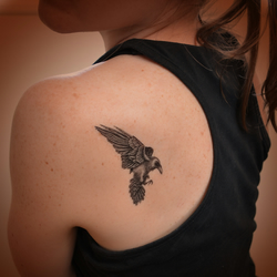 Raven art - temporary tattoo