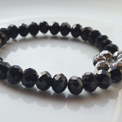Bracelet Black And Silver Crystal Faceted Bead Elasticated Bracelet With Charm