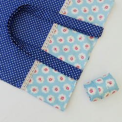 Fold-up shopping bag in 2 blue vintage style fabrics
