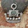 Viking Ship Pendant with Labradorite Face