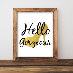 """ Hello Gorgeous "" in Gold Acrylic Ink Original"