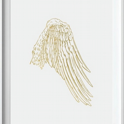 Set of 2 Angel Wings in Gold Acrylic Ink Original