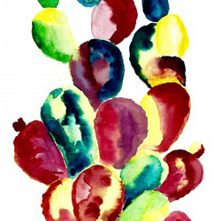 Intense Rainbow Cactus - Print of Original Watercolour Painting