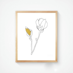 Magnolia Bud and Flower in Black and Gold Ink - Handmade