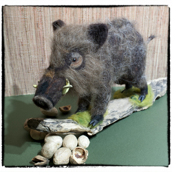 Wild Boar - needle felted, one of a kind