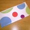 SALE - NOW 50% OFF, Pencil case, white with large bright spots, Oilcloth,