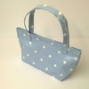 Small Oilcloth tote bag, Pale blue with white spots,lunch bag, velcro closure