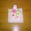 Oilcloth Key ring in cream with flowers, square with pretty edges, new