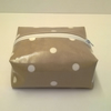Oilcloth make up bag, box style, white zip, beige, cream spots,  wipe clean, new