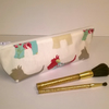 Oilcloth make up bag or pencil case, Cream with scottie dogs, flat bottom