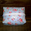 Oilcloth make up bag, box style, pale blue floral pattern, facial wipes holder