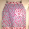 Reserved listing for Julie Maggin, Cotton apron, blue with pink flowers