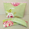 Make up bag gift set in green with pink flowers, tissue holder & purse