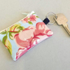 Mini coin purse key ring in blue and pink
