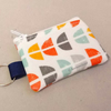 Mini coin purse key ring in white, orange and aqua