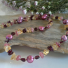 Garnet, Freshwater Pearls, Citrine,  Sterling Silver Necklace