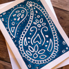 Paisley Lino print card - 5x7 Turquoise
