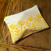 Yellow seed head make up bag - Handmade - Hand printed.