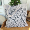 Leaf print cotton tote bag - hand printed - grey tote