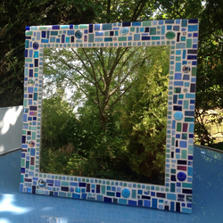 Square Mosaic Bathroom Mirror in shades of Blue & Turquoise 40cm