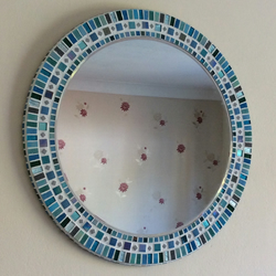 Large Circular Mosaic Bathroom Wall Mirror in Turquoise, Teal & Grey 50cm