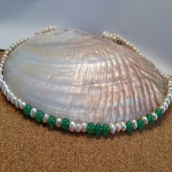 Pearl and Jade green necklace