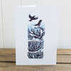 "Winter Drifts ""Crows"" greetings card, Christmas card, blank inside"