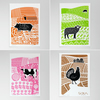All four Farmyard Animals screen prints, hand pulled