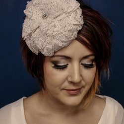 Medium Beret with Large Stiffened Lace Flower Trim