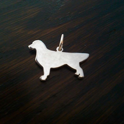 "Golden Retriever dog silhouette pendant sterling silver handmade with 18"" chain"