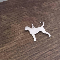 "Boxer dog silhouette pendant sterling silver handmade with 18"" chain"