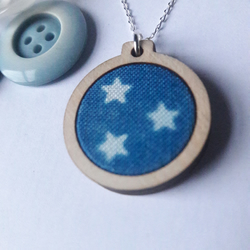 Star cyanotype necklace, wooden mini embroidery hoop pendant on silver chain