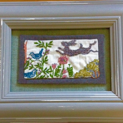 Fabric and Embroidered Leaping Hare Art (cw frame)