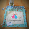 Drawstring appliqued fabric bag with little bunnies