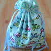 Fabric Drawstring gift bag or storage bag in retro scooter design