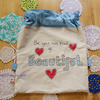 Drawstring bag with applique SALE