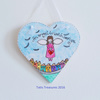 Painted hanging heart with angel design