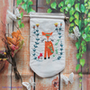 Fabric Banner with Embroidered Little Fox Design